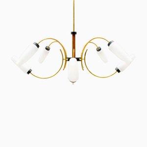 Lámpara de araña Sputnik Mid-Century de latón con ocho brazos