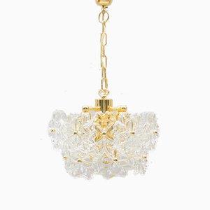 Lámpara colgante dorada de cristal de Kinkeldey, años 60