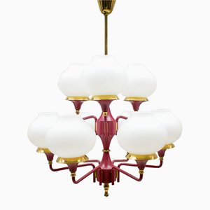 Red Opaline Glass Orbital Chandelier, 1960s