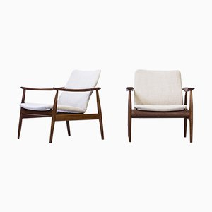 Vintage Danish Model 138 Easy Chairs by Finn Juhl for France & Søn, Set of 2