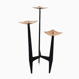 Brutalist Sculptural Iron & Copper Candleholder, 1960s