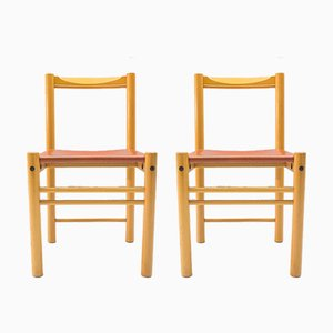 Italian Leather and Wood Chairs from Ibisco Sedie, 1960s, Set of 2