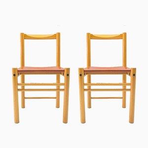 Sedie con seduta in pelle di Ibisco Sedie, Italia, anni '60, set di 2