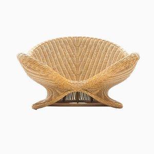 Fauteuil ou Chaise de Jardin Vintage en Rotin