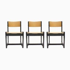 Sillas vintage con asientos de cuero, años 60. Juego de 3