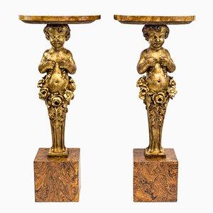 Consolas con ángeles de madera tallada y dorada, finales del siglo XIX. Juego de 2