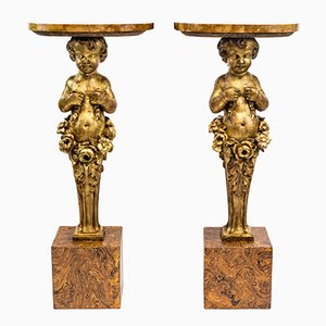 Late 19th Century Carved & Gilt Wood Putti Consoles, Set of 2