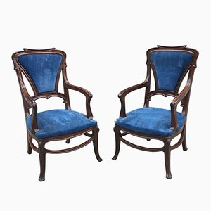 French Art Nouveau Mahogany Armchairs, 1900s, Set of 2