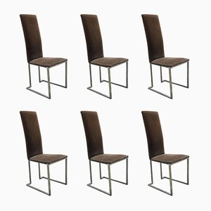 Französische Chrom & Samt Esszimmerstühle von Maison Jansen, 1970er, 6er Set
