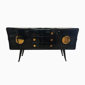 Mid-Century Italian Black & Gold Mirrored Sideboard, 1950s