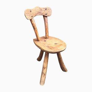 Chaise Vintage Brutaliste Rustique Sculptée en Orme