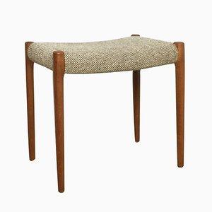 Tabouret Danish en Teck & Fabric par Niels O. Møller pour J.L. Møllers, 1960s
