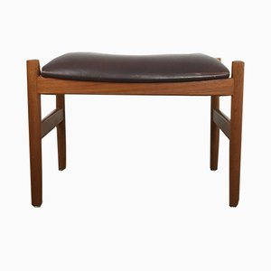 Brown Leather Stool from Spottrup, 1960s