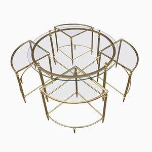 Vergoldeter Metall Tisch mit Satztischen von Maison Baguès, 1970er
