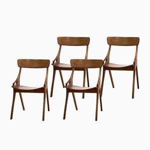 Sedie da pranzo di Arne Hovmand Olsen per Mogens Kold, anni '50, set di 4