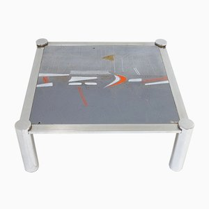Mid-Century Belgian Ceramic & Chrome-Plated Coffee Table by De Nisco, 1960s