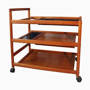 Vintage Danish Serving Trolley in Teak by Johannes Andersen for Dyrlund