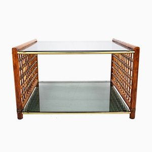 Mesa de centro de vidrio ahumado y bambú tejido, años 60