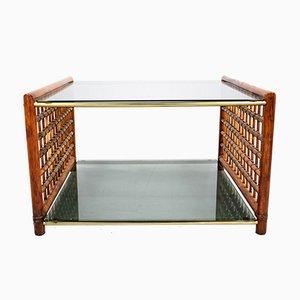 Table Basse en Bambou Tissé & Verre Fumé, 1960s