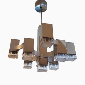 Cubic Chandelier with 9 Lights by Gaetano Sciolari for Sciolari, 1970s