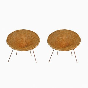 Mid-Century Italian Sunflower Wicker Chairs, Set of 2