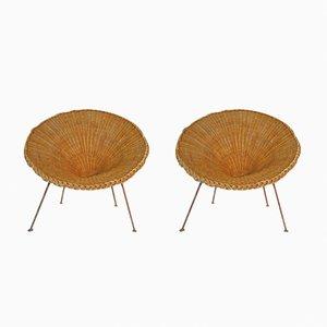 Mid-Century Italian Sunflower Wicker Chairs, Set of 2