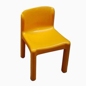 Sedia modello 4875 in plastica gialla di Claudio Bartoli per Kartell, anni '70