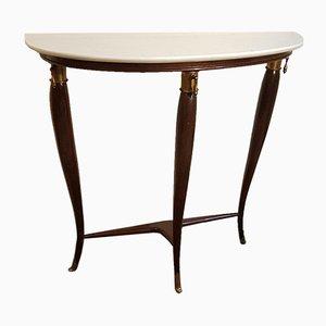 Tavolino in legno, ottone e marmo di Franco Buzzi, anni '50