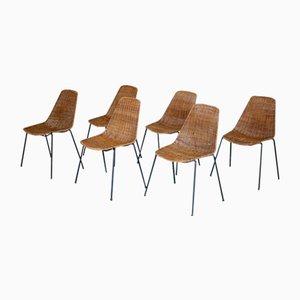 Vintage Basket Chairs by Gian Franco Legler for Pierantonio Bonacina, Set of 6