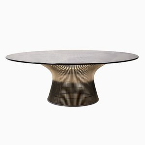 Tavolino da caffè rotondo in vetro di Warren Platner per Knoll International, anni '60