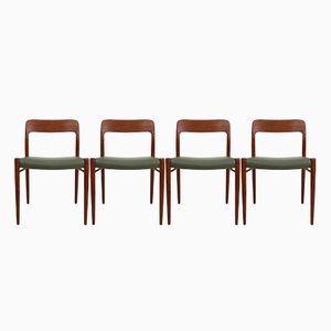Vintage Modell 75 Stühle von Niels Otto (N. O.) Møller, 4er Set