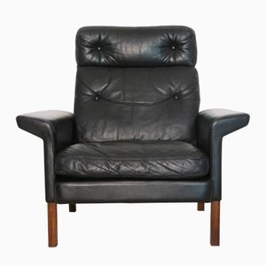 Vintage Danish Leather & Rosewood Armchair