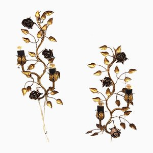 Vintage Gilt Metal Rose Vine Wall Lamps, Set of 2