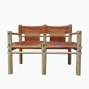 Elm & Leather 2-Seater Bench, 1950s