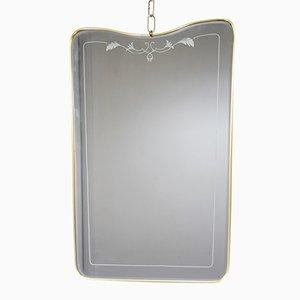 Specchio con cornice in ottone, Italia, anni '50