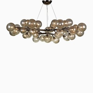 Black Nickeled Mimosa Chandelier with 42 Lights in Brass by Alberto Dona