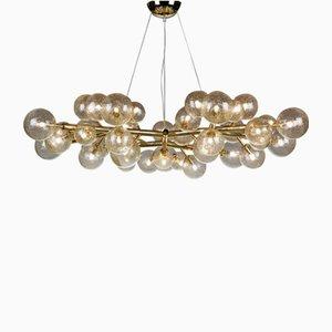 Lámpara de araña Mimosa con 42 luces de oro de Alberto Dona