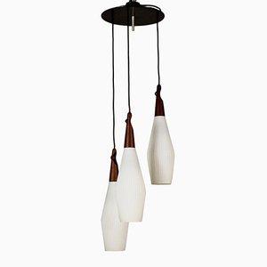 Vintage Italian Metal, Teak & Opaline Glass Ceiling Lamp, 1960s