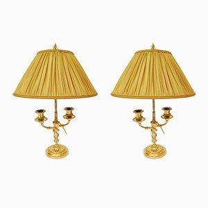 Antike Lampen mit anmontierten Kerzenhaltern aus vergoldeter Bronze, 2er Set