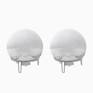 Lámparas de vidrio soplado de Angelo Mangiarotti para Skipper and Pollux, años 80. Juego de 2