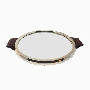 Art Deco Mirrored Tray with Wooden Frame, 1930s