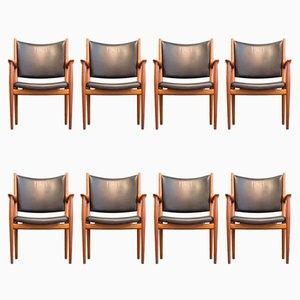 JH 513 Mahagoni & Leder Stühle von Hans J. Wegner für Johannes Hansen, 1960er, 8er Set