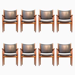 JH 513 Mahogany and Leather Chairs by Hans J. Wegner for Johannes Hansen, 1960s, Set of 8