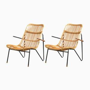 Vintage Bambus Sessel von Laurids Lønborg, 2er Set