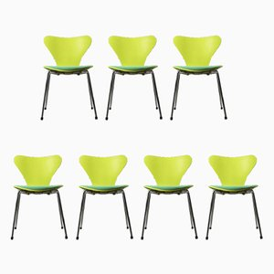 Vintage Model 3107 Green Chairs by Arne Jacobsen for Fritz Hansen, Set of 7