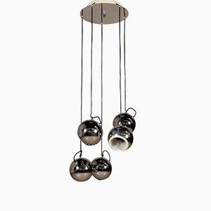 Lámpara colgante italiana de metal cromado, años 60