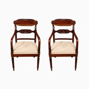 Antike italienische Mahagoni Armlehnstühle, 2er Set