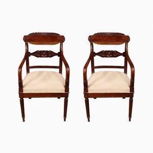 Antique Italian Mahogany Armchairs, Set of 2
