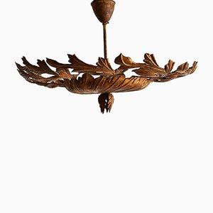 Lámparas de techo Regency de metal dorado, años 10. Juego de 2