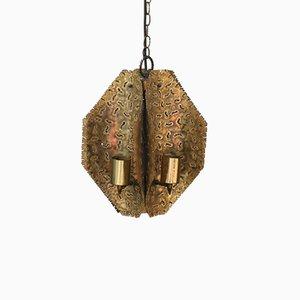 Italian Brutalist Brass Ceiling Lamp, 1970s